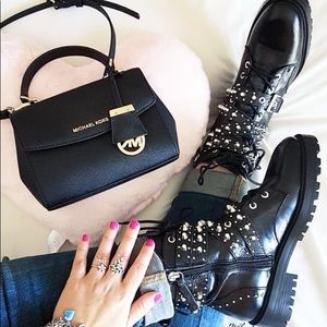 Last one Zara black Leather Ankle Boots with studs
